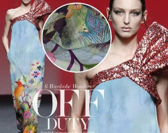 100% Silk fabric, Light blue Silk crepe fabric, Wedding  bridal fabric by 1 m