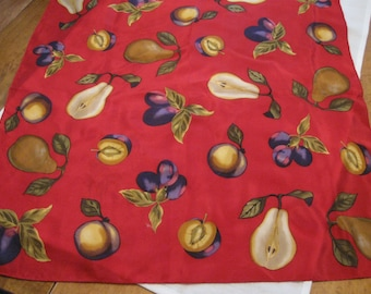 Fab Vintage Echo Square 100% Silk Scarf-Red with Fruit