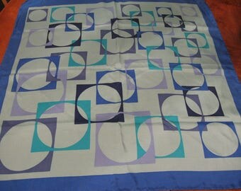 Shades of Blue Vintage Mod Square Silk Scarf Italy 1970's