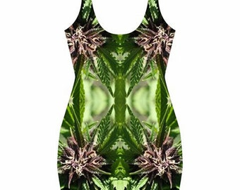 Body Con Dress, Ganja Dress, in a Purple Nepal Marijuana Print with Pink Accent, Rave Dress, Festival Dress, Clubwear Dress MADE TO ORDER