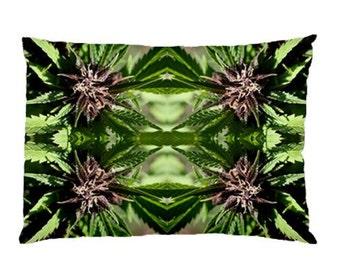 Standard Pillow Case: Ganja Pillow Case in Purple Nepal Marijuana Print, Bed Pillow Case, Cannabis Pillow Case- MADE TO ORDER