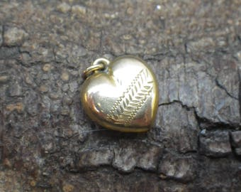 Vintage Rolled Gold Puffy Heart Pendant Charm