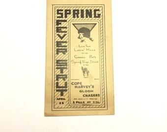 "1930's Gamma Phi Party Dance Flyer Ephemera ""Spring Fever Strut"". Art Deco / Sorority / Black Cat"