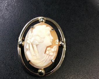Cameo brooch ,real shell Italian cameo ,gold plated