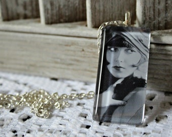 Louise Brooks. necklace. Handmade. Glass pendant. Silver chain. Gorgeous picture!