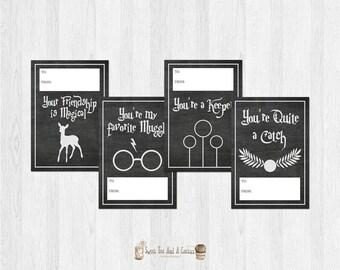 Harry Potter Valentines Day Cards Printable Digital File Sci-fi Chalkboard Kids Valentine's Valentine Instant Download Childrens