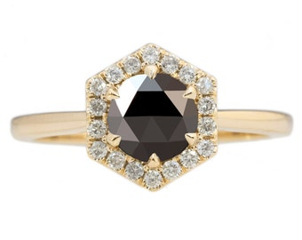 Hexagon Halo Ring with Black Rose Cut Diamond