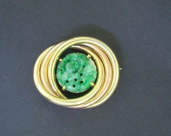 Three Circle carved floral jade brooch