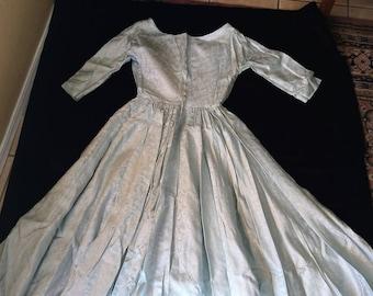 Vintage Women's Hand Made Wedding Dress 1951 Celery/Sea-foam Green With Silver