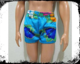ken doll clothing summer shorts blue with hawaiin flowers nice