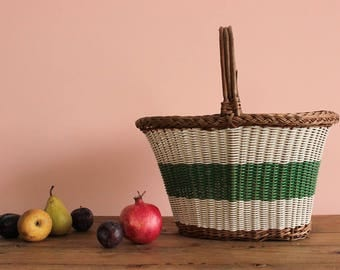 Vintage Wicker and Plastic Rustic Woven Basket
