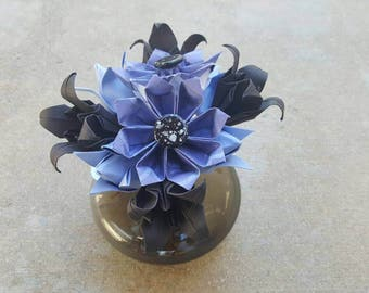 Blue and Black Origami Flower Arrangement - Floral Arrangement - Daisy - Iris - Tulip - Black Glass Vase - Decoration - Centerpiece