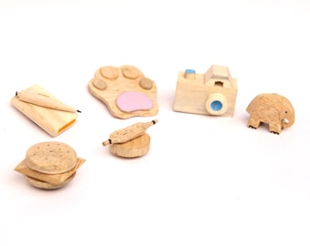 Wooden miniature magnets (Set of 6)