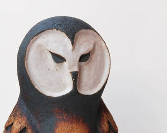 Studio pottery large stoneware barn owl.