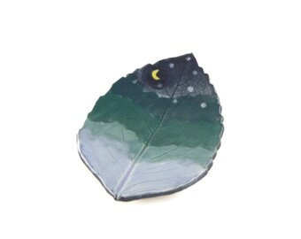 Hydrangea Leaf dish - pottery - night sky leaf - starry night - ring dish - spoon rest - fall leaf - decor - space decor - stargazer dish