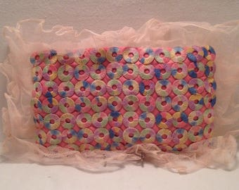 Small RETRO Decorative Pink Turquoise Pillow