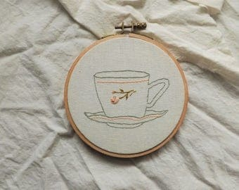 Embroidery Hoop with Teacup and Rosebud Motif