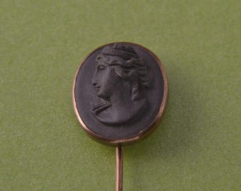 Gilt And Lava Victorian Stick Pin With Cameo (302j)