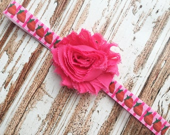 Pink and Red Strawberry Headband for Girls -Hot Pink Shabby Flower Headband - Strawberry Head Band - Summer Headband Photo Prop for Baby