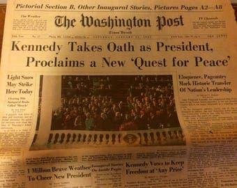 The Washington Post newspaper. JFK's inauguration. 1961.