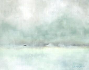 Slowly Drifting - Original Oil Painting - Landscape Painting - Abstract Landscape Painting - 16x20 - Snow Winter Scene - Weather Coastal