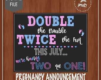 Twin Pregnancy Announcement - Cute Pregnancy Announement - Digital File - Print Yourself - We're having 2 - Pink and Blue - Announce Baby