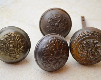 Antique Iron Doorknobs, 1860's, Mismatch Patterns
