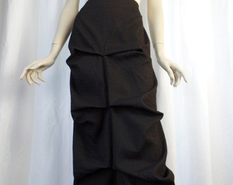 90s VERTICE ruched avant garde black pinstriped 3-D architectural midi skirt/origami style  drape and fold: NZ size 10