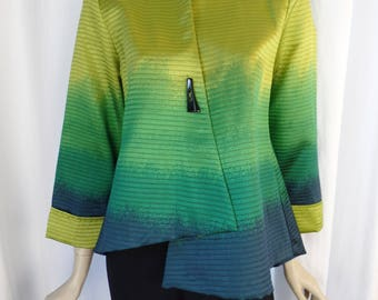 vintage DIP DYED look asymmetrical single button swing  jacket/ ombre citron to turquoise  + bronze ribs/ single button: size S