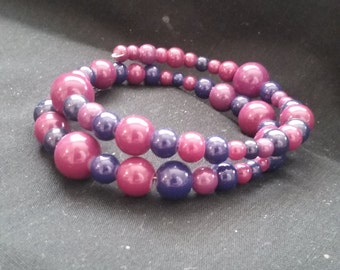 Mauve and Navy Blue Acrylic Bead Bracelet, Beaded Bracelet, Red and Dark Blue Jewelry, Acrylic Beaded Bracelet