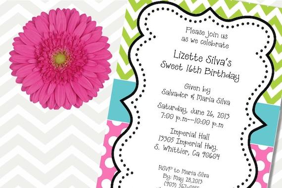 Birthday Invitations, Chevron Invitations, Dots, Lime Green, Pink, Party Invitations, Shower Invitations, Printable Invitation, Girl Invite