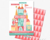 """It's Small World Inspired Shower Invitation   Small World Printable   Small World Digital   5X7 with *bonus reverse side"""""""