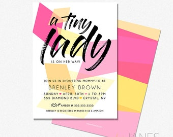 "Geo Baby Shower Invitation | Geometric Invitation | Gem Shower Invite | Gem Bridal Shower Printable - 5X7 with *bonus reverse side"""