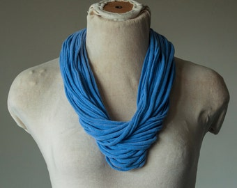 Recycled T-Shirt Necklace Blue