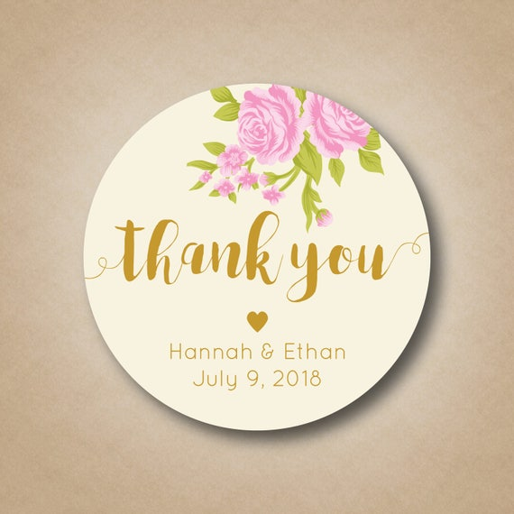Wedding Thank You Stickers Wedding Favor Stickers Blush Pink Rose