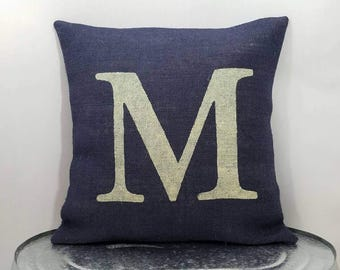Personalized rustic navy blue burlap with ivory/cream (or custom color) monogrammed letter pillow cover/sham-Custom size/color options
