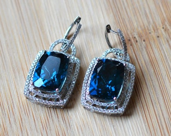 17.11 Carat London Blue Topaz Earrings - Diamond and Topaz Earrings - White Gold Blue Topaz Earrings - London Blue Topaz Dangle Earrings