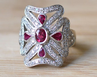 18K White Gold Ruby and Diamond Ring - Ruby Ring With Diamonds - 18K Ruby Diamond Ring - Art Deco Ring - Oval Ruby and Diamond Ring