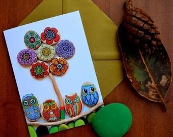 I Sassi dell'Adriatico - Greeting Card - Painted stone mandala Flower & Owls