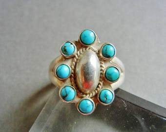 Turquoise sterling ring 6.5, Turquoise ring 6.5, multistone turquoise ring, Zuni turquoise ring, sterling Mexican ring 6.5, turquoise, Zuni