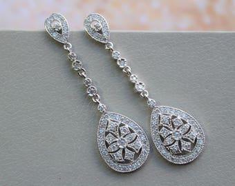 Art Deco Earrings, Bridal Earrings,Dangle Earrings, Wedding Earrings, Bridal Jewelry ,Crystal Teardrop Earrings ,Wedding Jewellery
