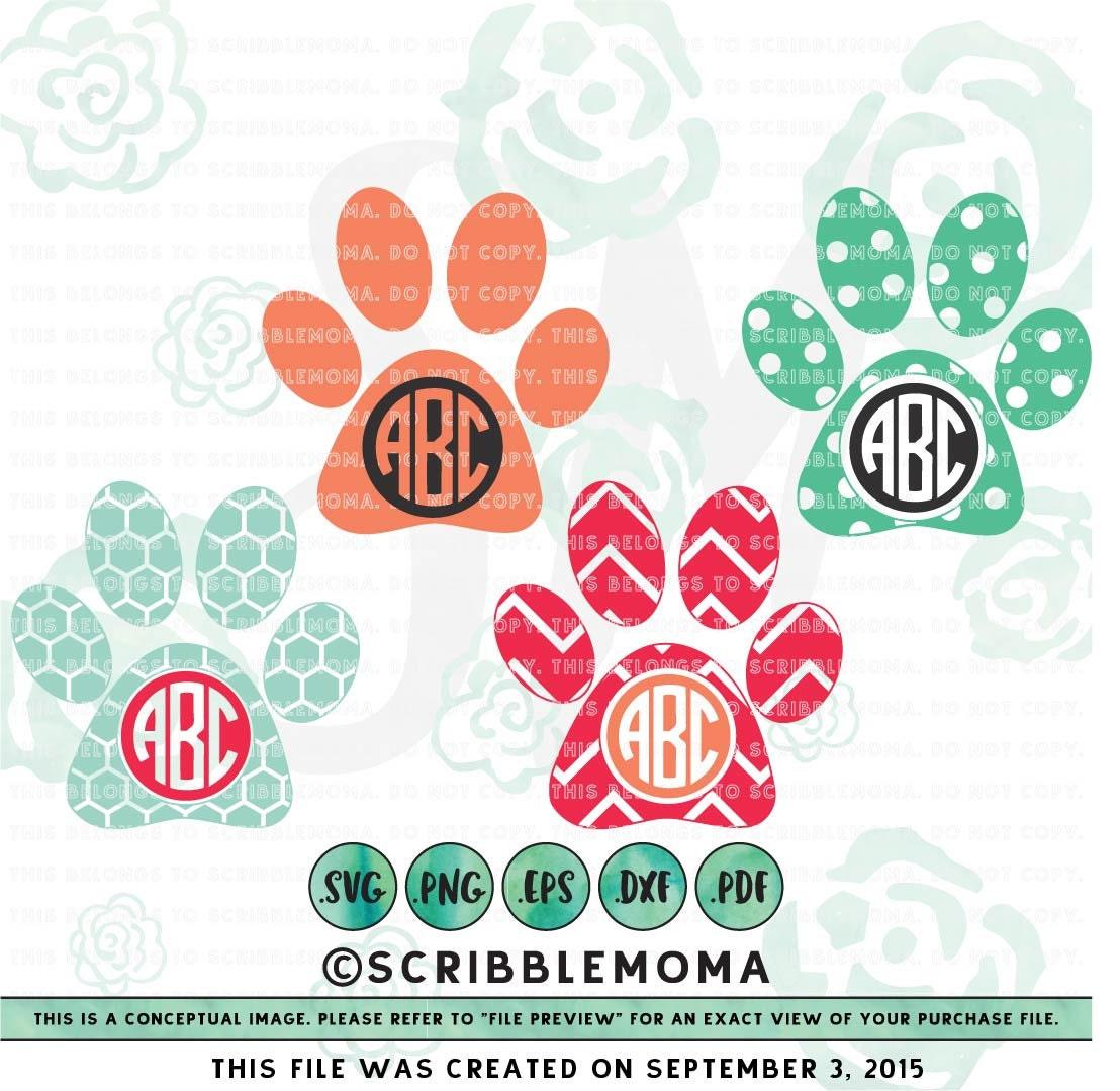 Download Paw Print svg Paw Monogram svg for Cricut Dog Paw svg Dog