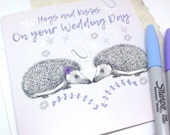 Wedding Card, Cute Pun Hedgehogs Wedding Card, Wedding Congratulations Card, Lilac Illustrated Mr and Mrs Hedgehog Card, Woodland Wedding.