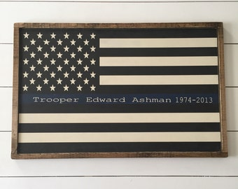 Thin Blue Line Flag Rustic Wood Sign