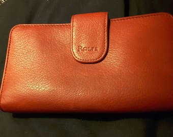 Vintage Rolfs Red Leather Bifold Wallet