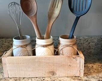 Kitchen Utensil Mason Jar Holder