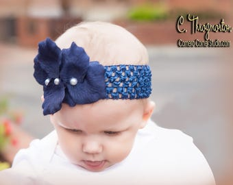 Navy custom headband fits newborn up to 2yrs.