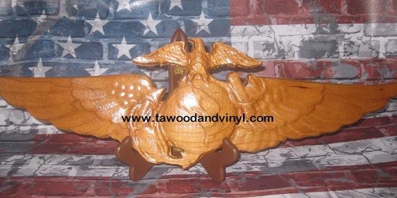 Aviation Art, Marine gifts, USMC gifts, Eagle Globe Anchor Wings, EGA, carved wood, woodworking, marine wood,