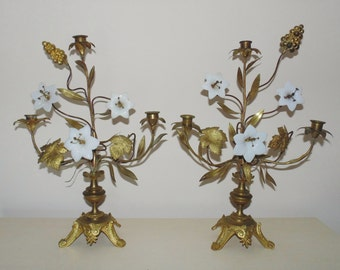 Pair Antique French Candelabra Girandoles Gilt Metal w/ Glass Flowers Candle Holders