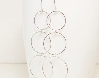 Triple Hoop Earrings, Modern Hoops, Handmade Sterling Silver Hammered Jewelry, Long Delicate Multi Hoop Earrings, Made in Canada
